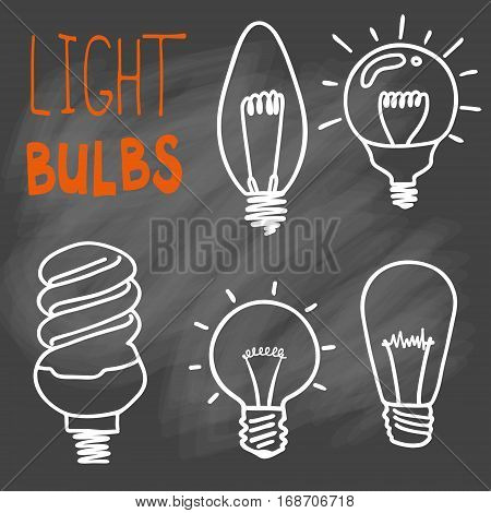 Light bulbs icon set. concept of big ideas inspiration, innovation, invention, effective thinking. CFL lamp.  Isolated. Vector illustration.  Idea symbol. Vector. sketch . On chalk background poster