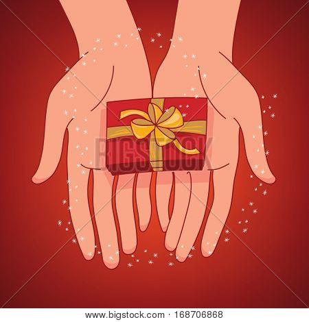 Concept of giving a present. Two hands outstretched offering a gift-wrapped, ribbon tied present on the deep red background with magic sparkles in the air.
