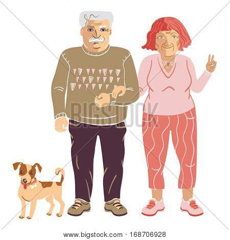 Elderly old man walking arm in arm with an old lady and their Jack Russel terrier dog beside them