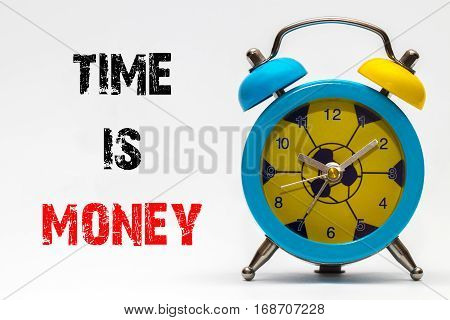 Time Is Money On A White Background. Retro Alarm Clock