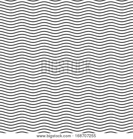 Black seamless wavy line pattern. Wave template. Vector illustration EPS10.