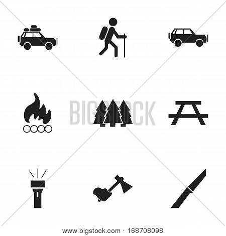 Set Of 9 Editable Camping Icons. Includes Symbols Such As Blaze, Voyage Car, Desk And More. Can Be Used For Web, Mobile, UI And Infographic Design.
