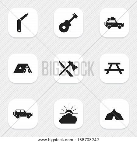 Set Of 9 Editable Travel Icons. Includes Symbols Such As Shelter, Desk, Clasp-Knife And More. Can Be Used For Web, Mobile, UI And Infographic Design.