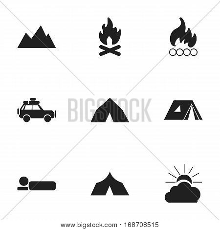 Set Of 9 Editable Trip Icons. Includes Symbols Such As Fever, Sunrise, Blaze And More. Can Be Used For Web, Mobile, UI And Infographic Design.