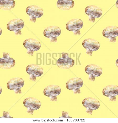 Mushroom champignon on yellow background. Watercolor hand made. Seamless colorful pattern. Could be used for textile or in design