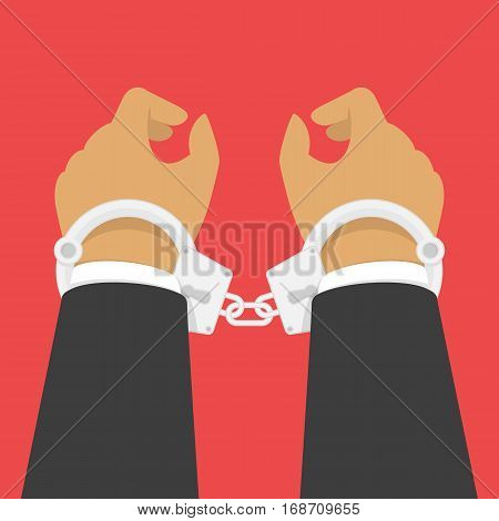 Handcuffs on the hands of the criminal. Arrested man in handcuffs vector illustration in flat style. A crime, corruption and arrest concept.