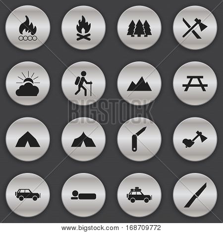 Set Of 16 Editable Trip Icons. Includes Symbols Such As Bedroll, Gait, Fever And More. Can Be Used For Web, Mobile, UI And Infographic Design.