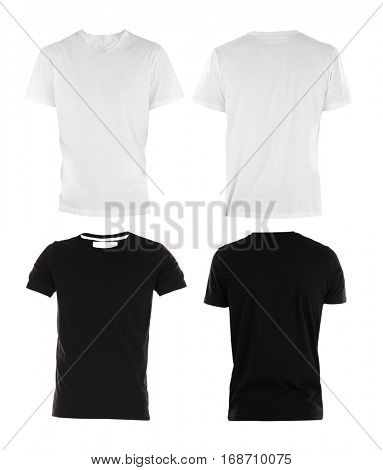 Front and back views of t-shirts on white background