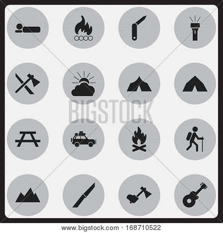 Set Of 16 Editable Trip Icons. Includes Symbols Such As Refuge, Sunrise, Bedroll And More. Can Be Used For Web, Mobile, UI And Infographic Design.