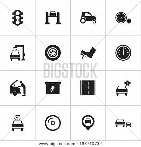 Set Of 16 Editable Transport Icons. Includes Symbols Such As Speed Display, Treadle, Vehicle Car And More. Can Be Used For Web, Mobile, UI And Infographic Design.