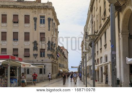 SPLIT, CROATIA - SEPTEMBER 11, 2016: This is shopping street which is named in honor of the French marshal Marmont and is considered the most beautiful in the city.