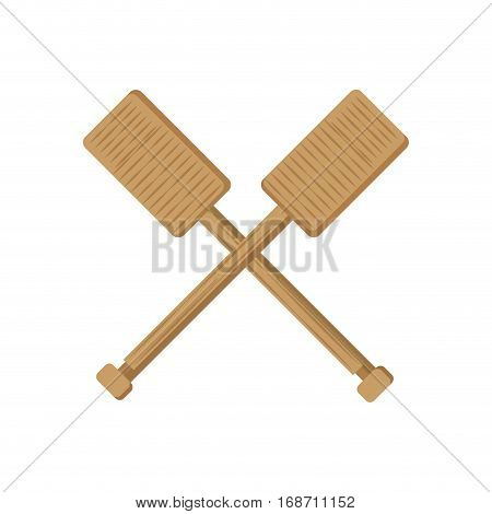 crossed rowing wooden boat vector illustration eps 10