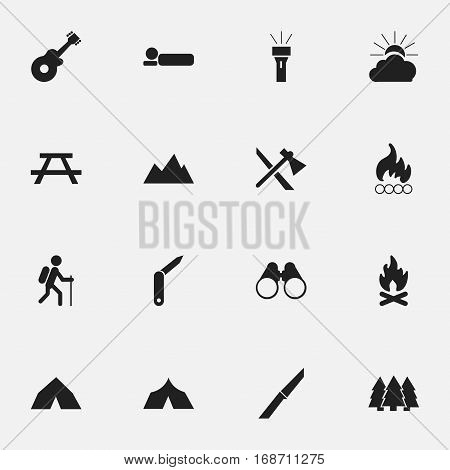 Set Of 16 Editable Trip Icons. Includes Symbols Such As Sunrise, Lantern, Musical Instrument And More. Can Be Used For Web, Mobile, UI And Infographic Design.