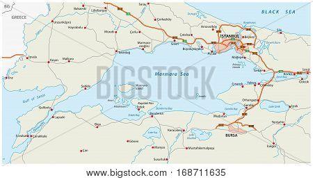 Vector road map marmara sea with istanbul