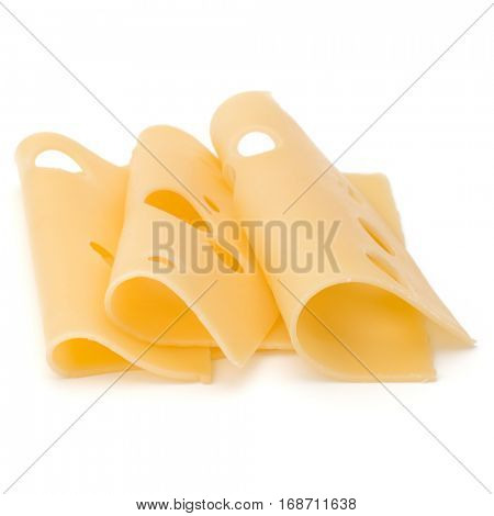 three Cheese slices isolated on white background.