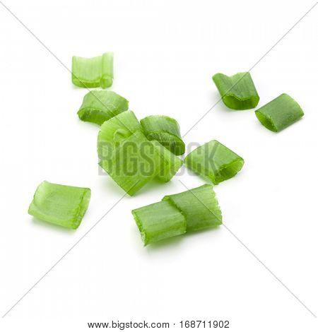 chopped spring onion or scallion isolated on white background cutout.