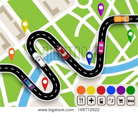Winding road with signs. City map. Movement of vehicles. The path specifies the navigator. Vector illustration