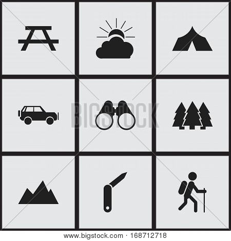 Set Of 9 Editable Camping Icons. Includes Symbols Such As Field Glasses, Peak, Desk And More. Can Be Used For Web, Mobile, UI And Infographic Design.