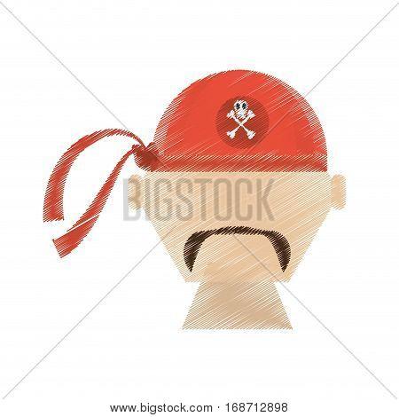 drawing face pirate red bandanna corsair bones vector illustration eps 10