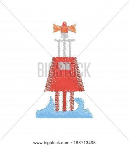 drawing red marker buoy ocean light navigation vector illustration eps 10