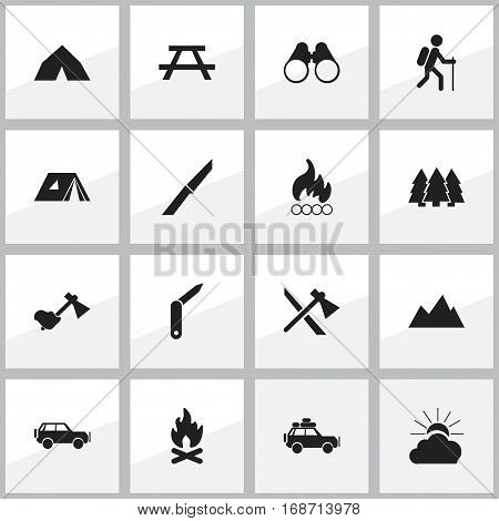 Set Of 16 Editable Travel Icons. Includes Symbols Such As Fever, Gait, Desk And More. Can Be Used For Web, Mobile, UI And Infographic Design.