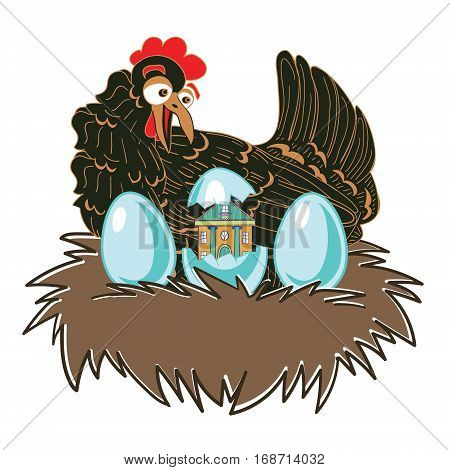 Chicken surprise. Hen on nest with eggs. Funny original vector illustration with a large range of applications