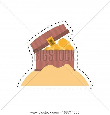 chest pirate wooden golden treasure sand cut line vector illustration eps 10
