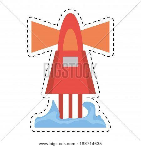 red marker buoy ocean light navigation cut line vector illustration eps 10