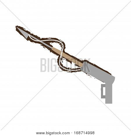 harpoon diving equipment fishing doodle vector illustration eps 10