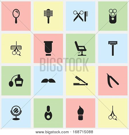Set Of 16 Editable Barber Icons. Includes Symbols Such As Hairdresser Set, Peeper, Charger And More. Can Be Used For Web, Mobile, UI And Infographic Design.