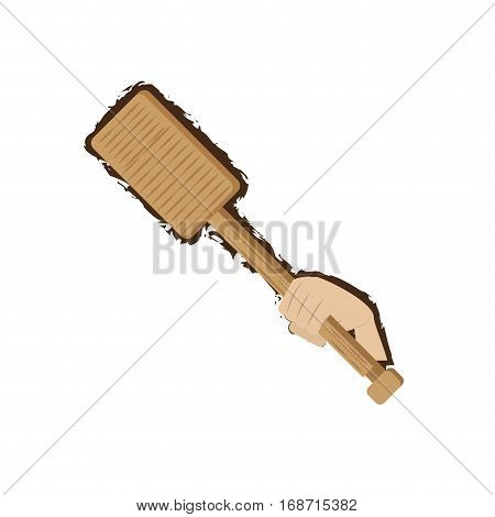 hand holding rowing wooden doodle vector illustration eps 10