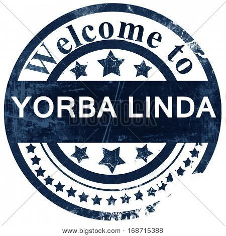 yorba linda stamp on white background