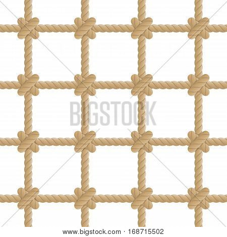 Seamless rope knot pattern. Marine Rope mesh background. Ocean wallpaper concept. Vector illustration in flat style. Endless navy illustration with brown rope ornament.