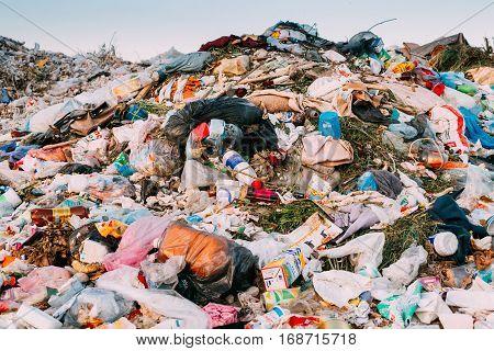 Minsk, Belarus - June 5, 2015: Pile Of Domestic Garbage Background. Large Heap Of Garbage