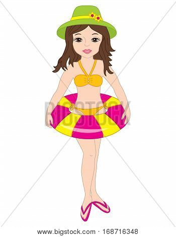 Vector fashion, attractive beach girl with buoy