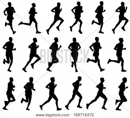 18 marathon runners silhouettes - vector