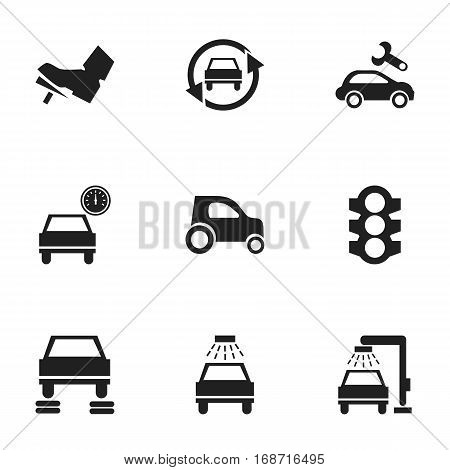 Set Of 9 Editable Vehicle Icons. Includes Symbols Such As Automobile, Vehicle Car, Tuning Auto And More. Can Be Used For Web, Mobile, UI And Infographic Design.