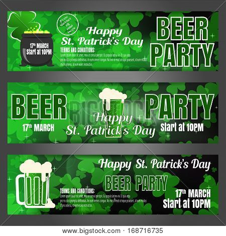 Vector Happy St. Patrick's Day beer party banners on the gradient dark green background with leaves of clover goblets of beer and cauldron.