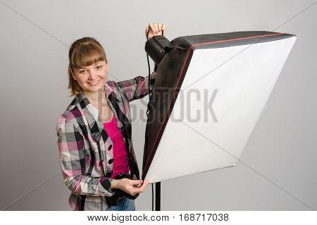 Photographer Studio Sets The Correct Direction Of Light Softbox