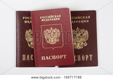 Three Passport Of The Citizen Of The Russian Federation On A White Background
