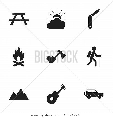 Set Of 9 Editable Travel Icons. Includes Symbols Such As Musical Instrument, Ax, Gait And More. Can Be Used For Web, Mobile, UI And Infographic Design.