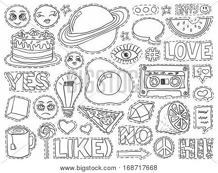 Patch Badges Set College Doodles Social Media Black White 3