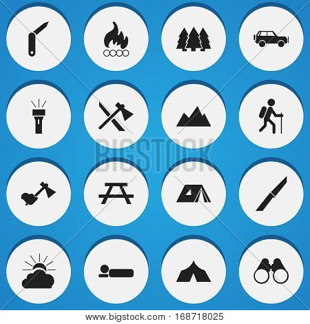 Set Of 16 Editable Camping Icons. Includes Symbols Such As Field Glasses, Lantern, Refuge And More. Can Be Used For Web, Mobile, UI And Infographic Design.