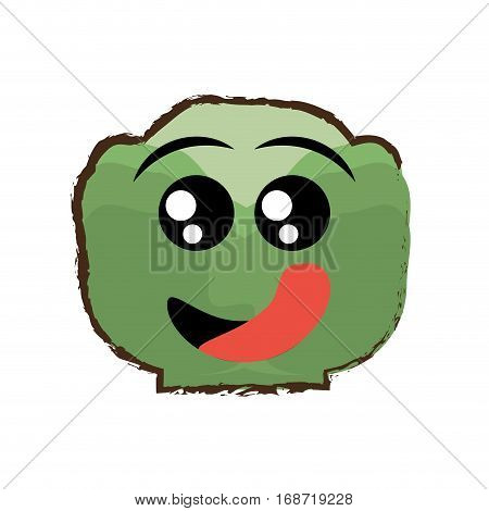 lettuce expressions hungry face icon, vector illustration