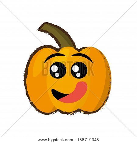 pumpkin expressions hungry face icon, vector illustration