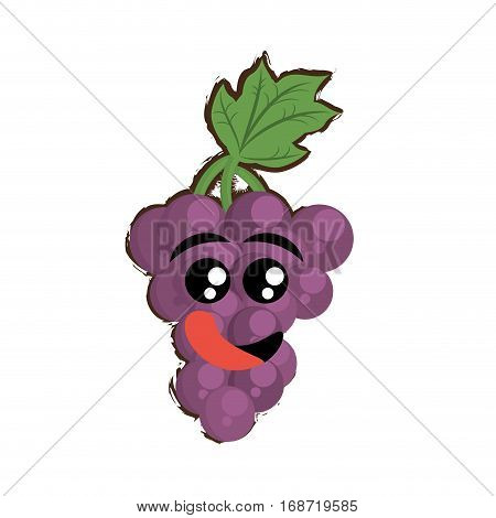 grapes expressions hungry face icon, vector illustration