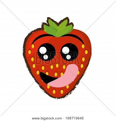 strawberry expressions hungry face icon, vector illustration