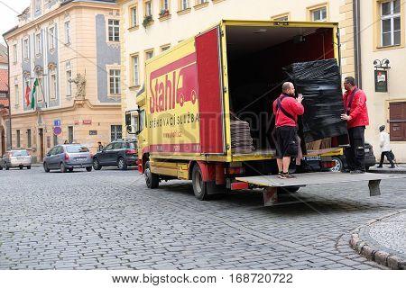 Prague, Czechia - November, 21, 2016: truck in a center of Prague, Czechia