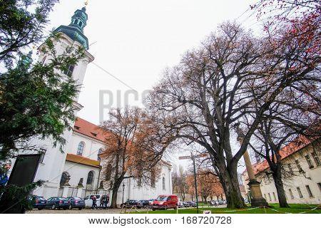 Prague, Czechia - November, 21, 2016: cathedral in a center of Prague, Czechia