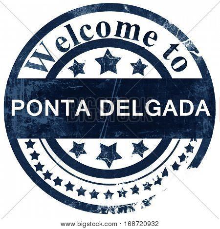 Ponta delgada stamp on white background